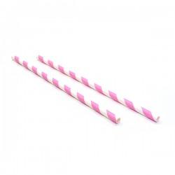 Sugrör i papper Rosa pastell 25-pack